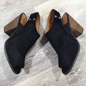 Vince Camuto Black Suede Peep Toe Booties Heels